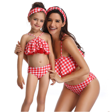 Red Plaid Mommy And Daughter Swimsuit Ruffle Solid Pink Bikini Set Family Matching Mother and Cut Out