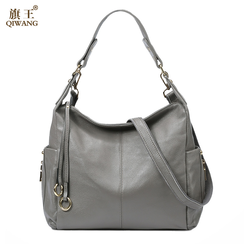 b36d2519dad8 US $57.57 50% OFF|QIWANG 100% Grey Genuine Leather Bag Women's Handbag  Ladies Shoulder Bags Satchel Purse Crossbody Hobo Large Capacity-in  Shoulder ...