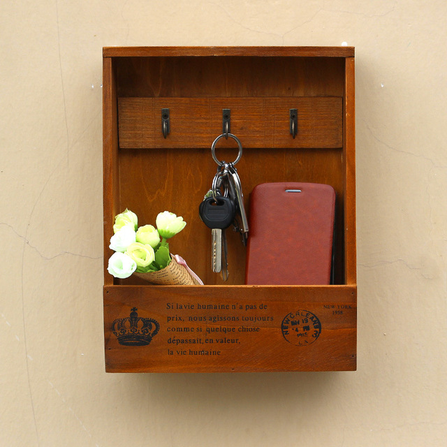 Vintage Wall Hanging Wooden Key Box Storage Shelf Display Box  Multifunctional Wood Retro Sundries Shelf Cabinet