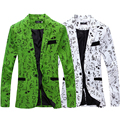 2017 New Arrival Spring Cheap Men Printed Blazer Linen Jacket Suit Slim Fit Design