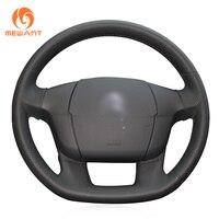 MEWANT Black Artificial Leather Car Steering Wheel Cover for Citroen C4 C4L