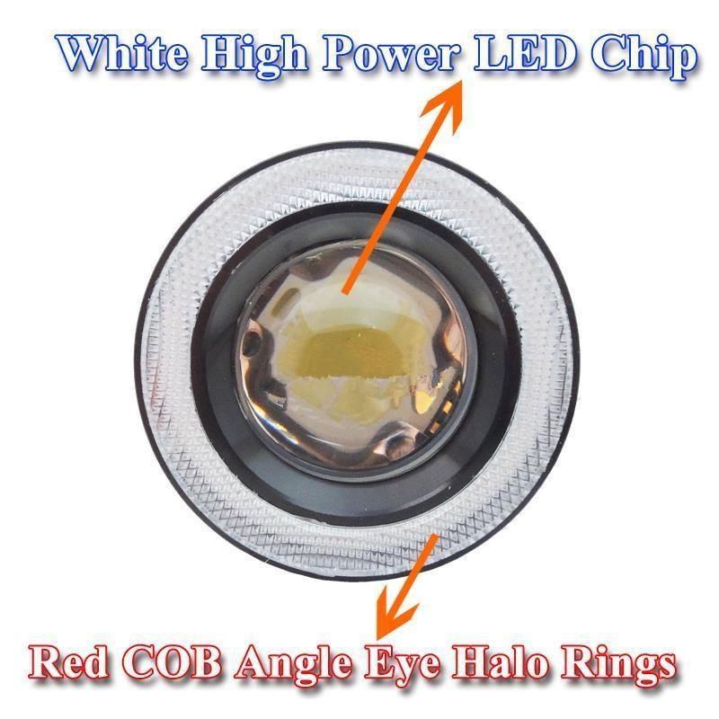 CYAN SOIL BAY 2x Red High Power Car 3.0 10W Max Projector LED Fog Light Lamps w/ COB Halo Angel Eye Rings 85w high bay lamps 60w 135w 165w 185w 2700k 6500k 85ra 75lm w