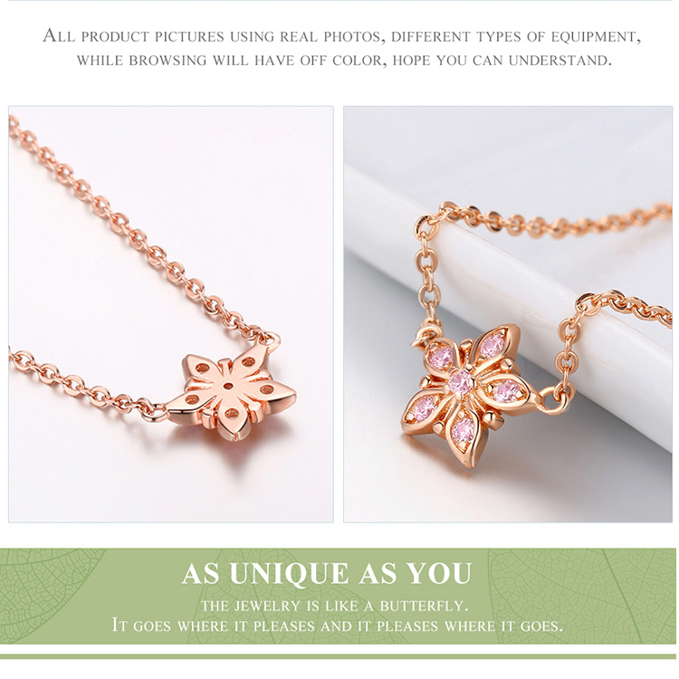 BAMOER 925 Sterling Silver Sakura Pink Flower Pendant Necklaces Women Earrings Star Shape Jewelry Set Wedding Jewelry ZHS098 8