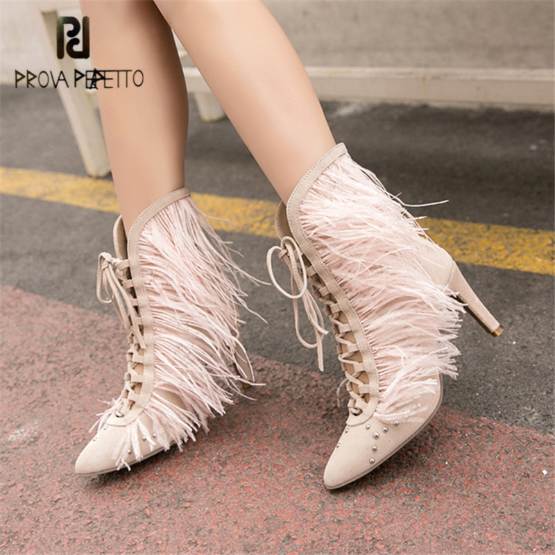 цена на Prova Perfetto Fur Decor Women Ankle Boots Pointed Toe Lace Up Fringed High Heel Short Boots Women Pumps Ladies Martin Boots