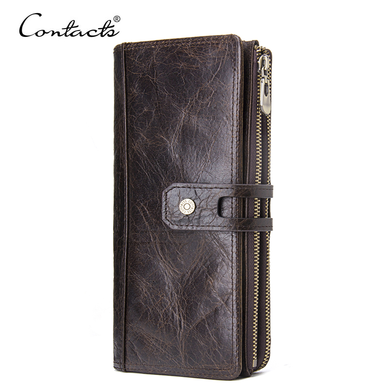 CONTACT'S 2018 Luxury Male Genuine Leather Purse Men's Clutch Wallets With Cell Phone Pocket Wallets Long Design Dollar Price top hot sale men s wallets purse for coins money clip clutch portfolio dollar price luxury constructor genuine leather bog ea307