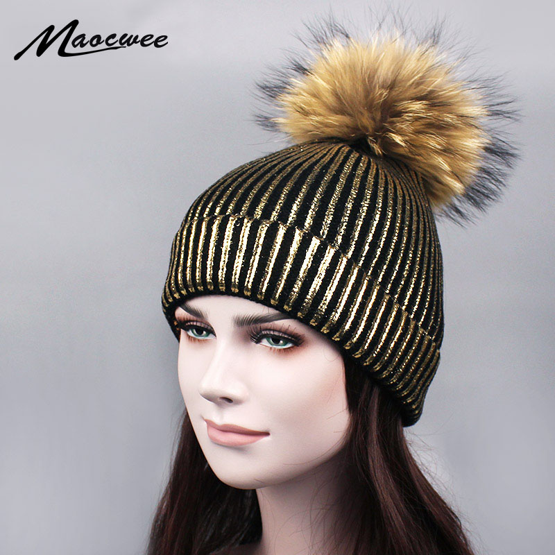 Bronzing gold and silver with caps colorful raccoon fur pompon hat for women winter knitting warm hats female   skullies     beanies