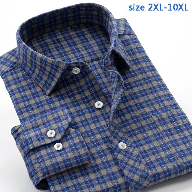 جديد وصول منقوشة موضة ربيع الخريف عالية qulatiy الرجال سوبر كبير السمنة 10XL طويلة الأكمام قميص حجم كبير XXL 7XL8XL9XL10XL