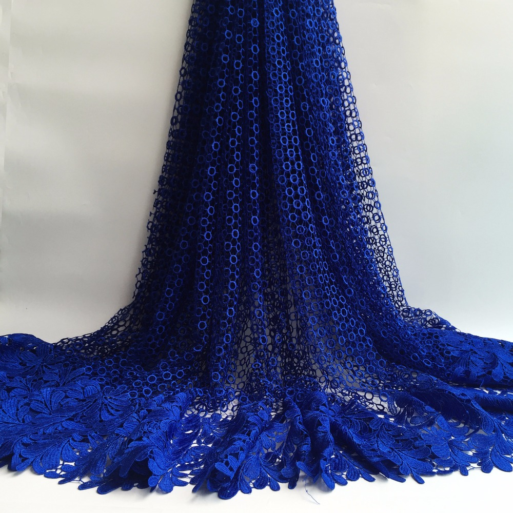 Royal blue Free Shipping High quality African guipure lace fabric for sewing african cord lace fabric
