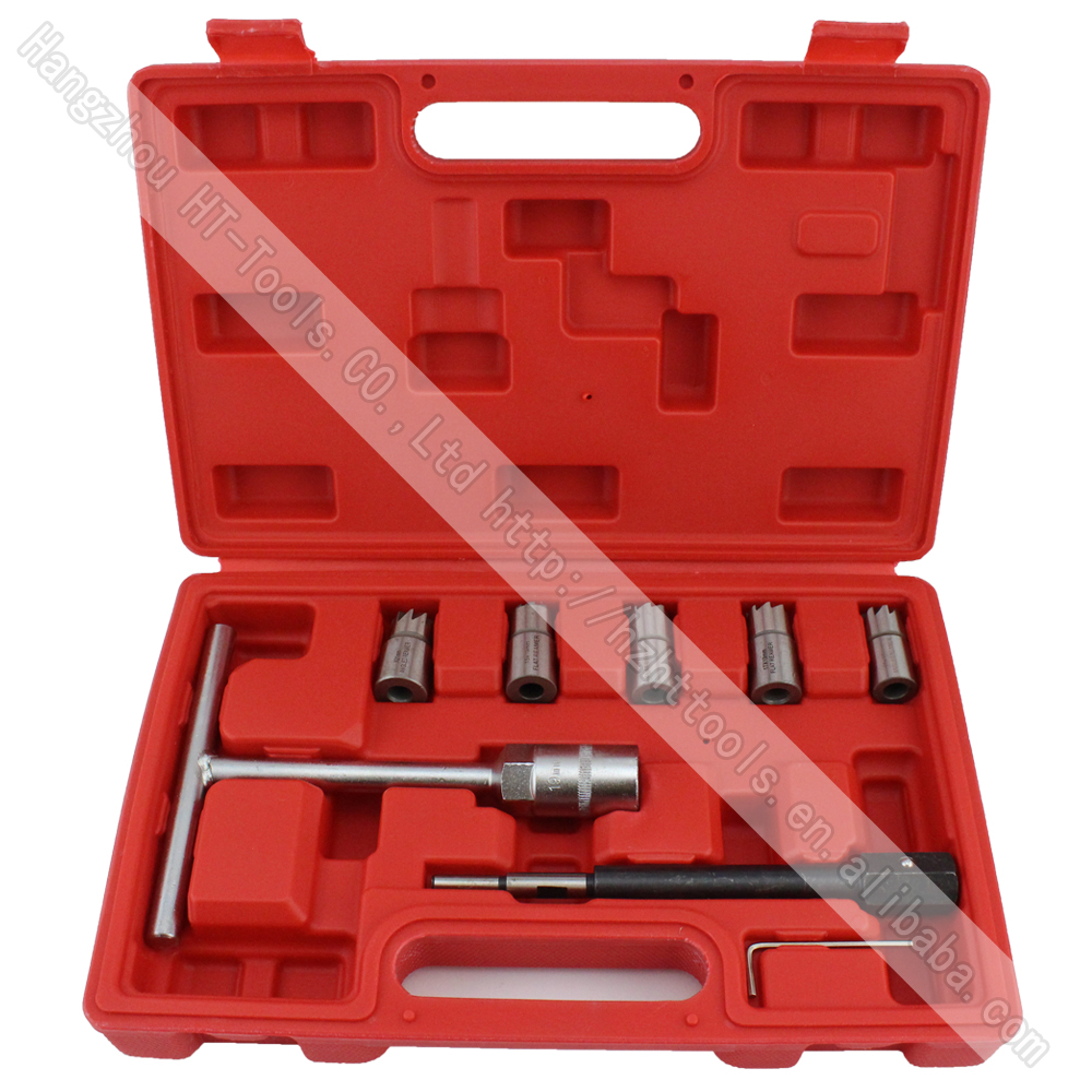 7pcs Diesel Injector Seat Cutter Set Cleaner Carbon Remover Car Garage Tool Kit