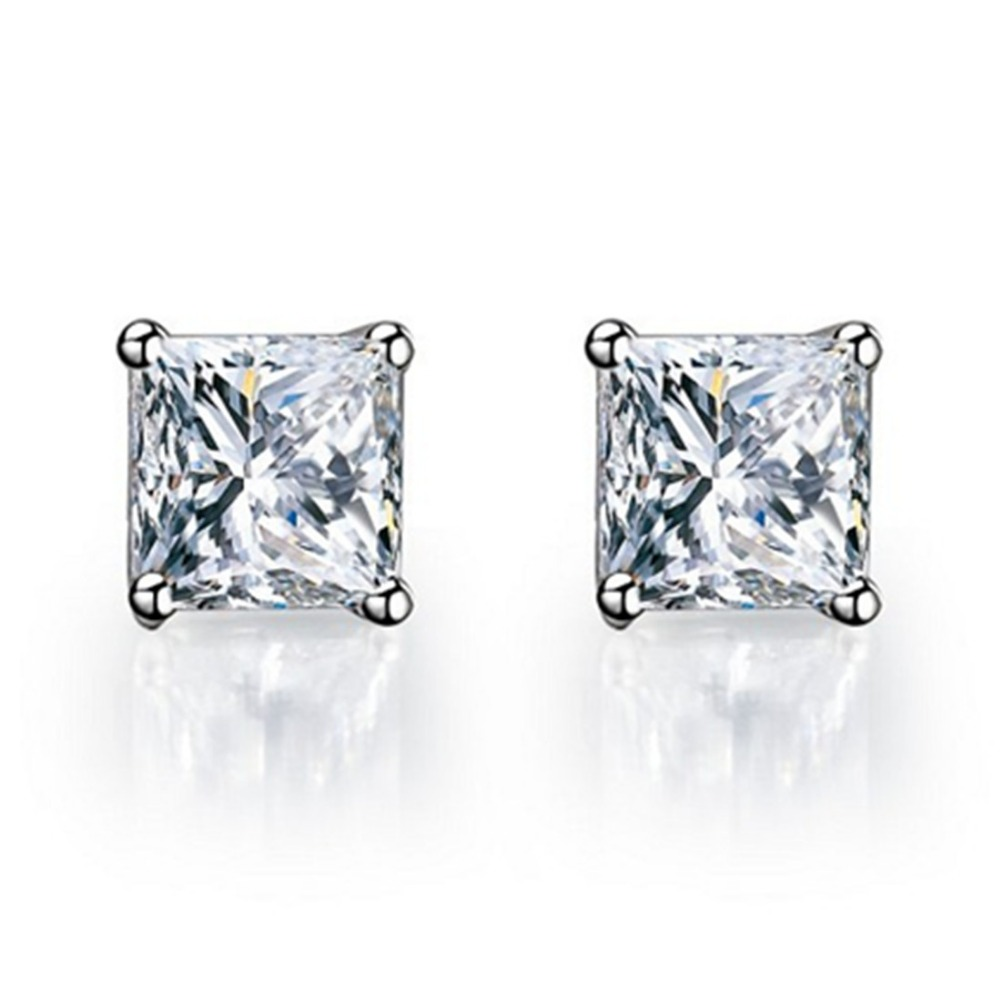 Wholesale Earrings Princess Solitaire 2Ct Synthetic Diamonds Stud Earrings for Women Engagement Sterling Silver Jewelry Female