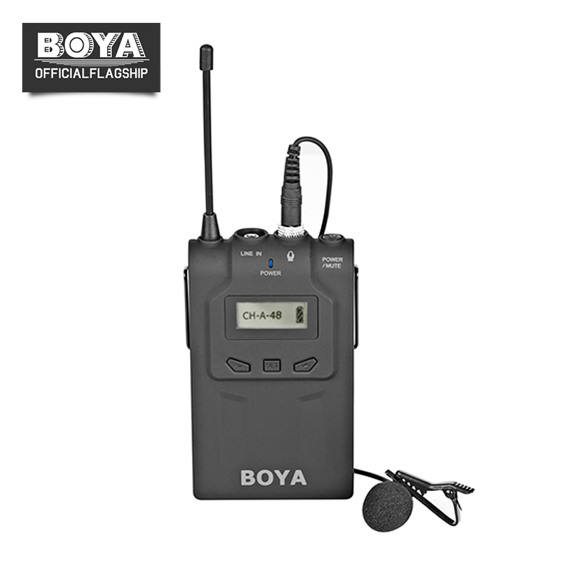 BOYA BY-WM8T UHF 48 Channels Wireless Camera Microphone Bodypack Transmitter for Video Recorders Work with BY-WM6/8 Receiver boya by whm8 professional 48 uhf microphone dual channels wireless handheld mic system lcd display for karaoke party liveshow