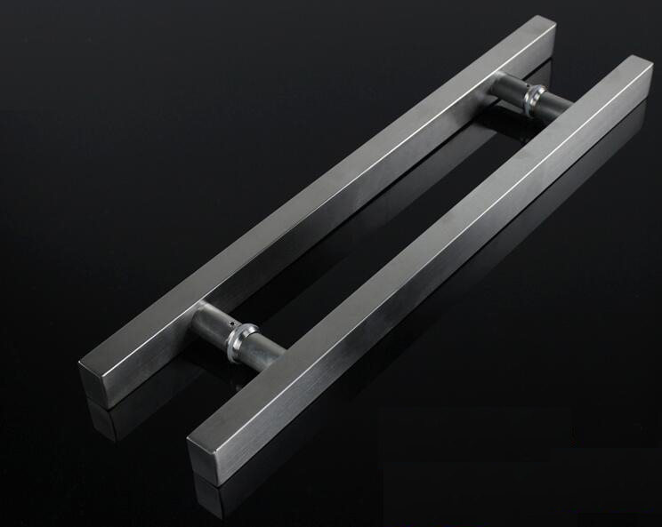 Glass door handle stainless steel square tube drawing tube handle door handle (Length:500mm C.C:300mm) mini stainless steel handle cuticle fork silver