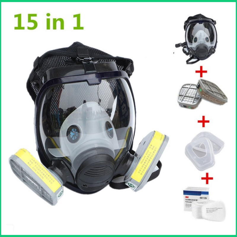 15 In 1 Suit Industry Painting Spray Gas mask Same with 3M 6800 Chemcial Respirator 6001