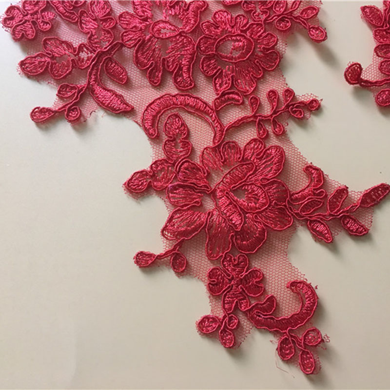 2 Pieces Polyester Floral Lace Applique Collar Fabric Trim DIY Embroidery Lace Fabric Neckline Applique Sewing Craft 2019 in Lace from Home Garden