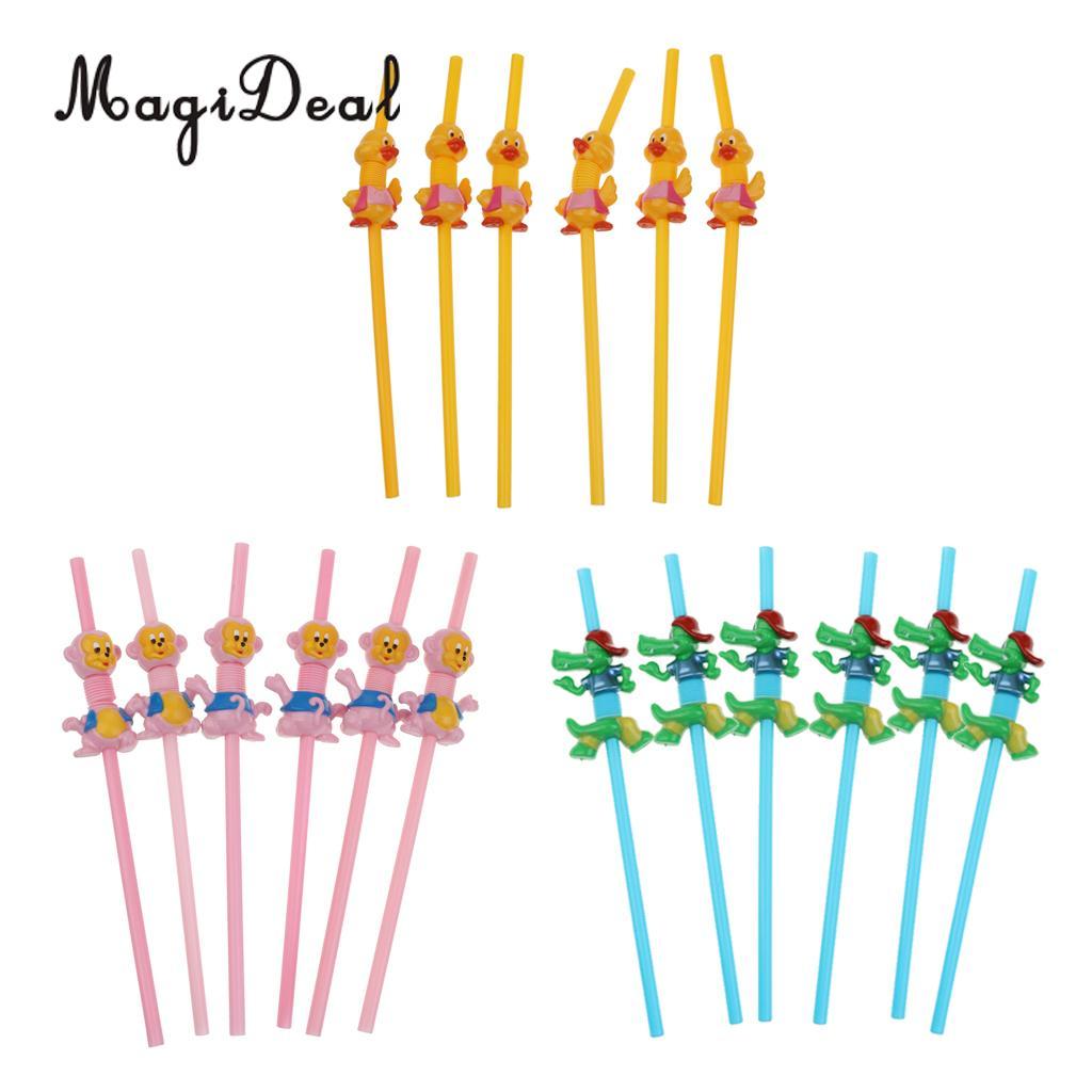 MagiDeal Animal Drinking Straws Disposable Flexible Bend Straws Crocodile Home Decor Kids Birthday Party wedding supplies