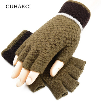 CUHAKCI 1 Pair HOT Gloves Unisex Men Women Knitted Stretch Elastic Warm Half Finger Fingerless For Winter High Quality - discount item  5% OFF Gloves & Mittens