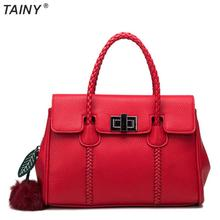 TAINY 2017 Trend Real Leather-based Litchi Sample Elegant Ladies Purse Shoulder Bag Messenger Luggage Tote Bag