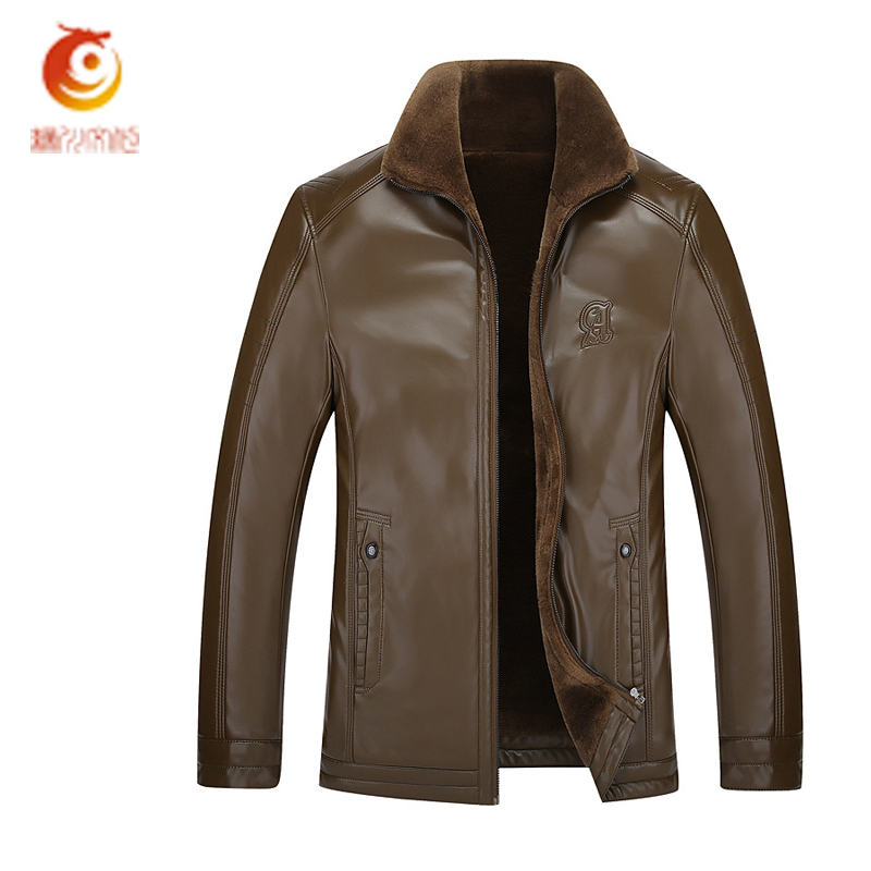 2017 New Men Leather Jackets Autumn Winter Jaqueta Masculina Couro Leather Thick Fur Coats Outerwear for Man Clothing plus Size