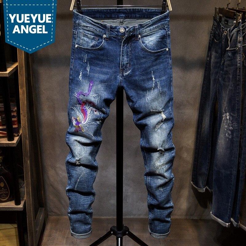 Nouvelle marque hommes Denim pantalon mode hommes Slim Fit trou déchiré Jean pantalon mâle européen brodé pantalon droit grande taille