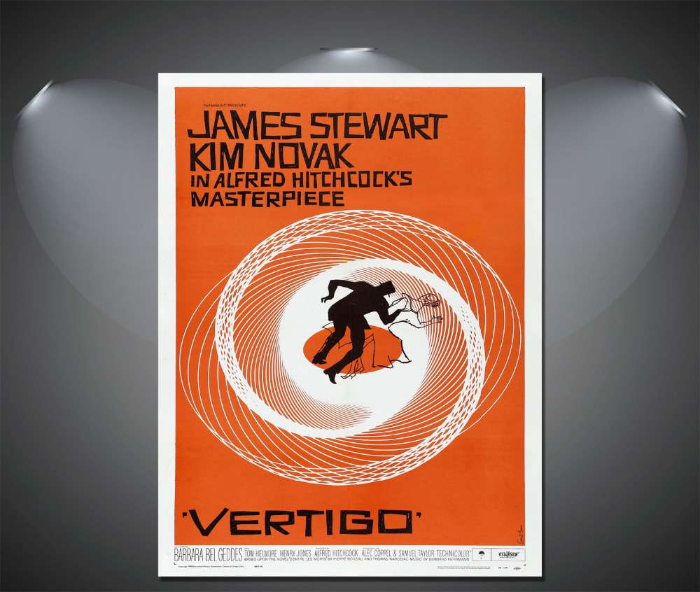 Alfred Hitchcocks Vertigo James Stewart Vintage Movie silk Poster Wall Decor12x18 24x36 inch image