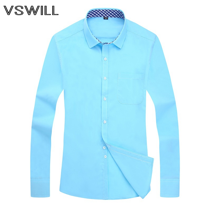 2018 Business Solid Blouse Men Slim Camisa Breathable Cotton Shirts Long Sleeve Business Formal Plus Size M-5XL Hot Sale Tops