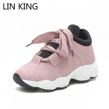 Купить с кэшбэком LIN KING Comfortable Women Ankle Shoes Lace Up Height Increase Wedges Shoes Ladies Outdoor Casual Travel Shoes Zapatillas Mujer