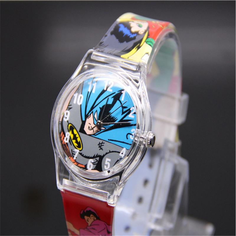 2018 Hot Sale Sports Quartz Wrist Silicone Watch Plastic Hero Batman Es High Quality Lovely Marvel Analog Snap Clock