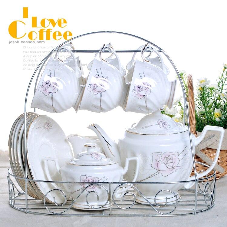 Бесплатная доставка 15 шт. Керамическая кофе мода чайный сервиз чашка кофе горшок набор посуды