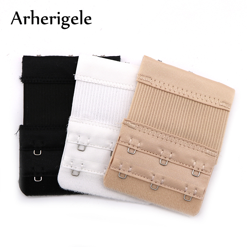 Arherigele 3Pcs Bra Strap Extender 2 Row 3 Hook Nylon Bra Extension Elastic Adjustable Clasp Bar Strap Women's Bra Accessories