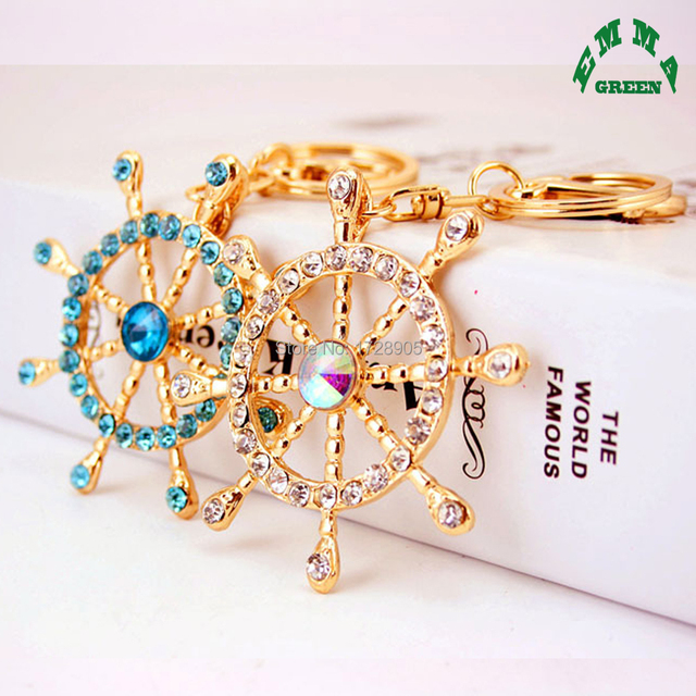 d28f726f310ee Nautical Wheel Novelty Rhinestone Anchor Keychain Alloy Key Holder Women  Bag Charms Pendant Key Chains Car Keyring llaveros