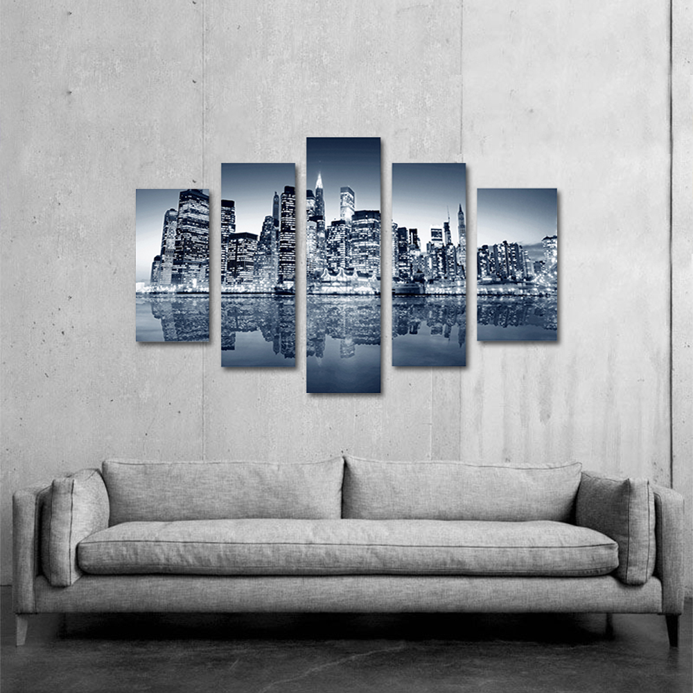 Unframed Canvas Painting Black And White Skyscrapers Light Photo Picture Prints Wall Picture For Living Room Wall Art Decoration