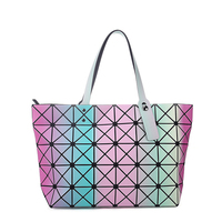 Womens Lady Rainbow Casual Geometry Satchel Tote Shoulder Zipper Bag Handbag