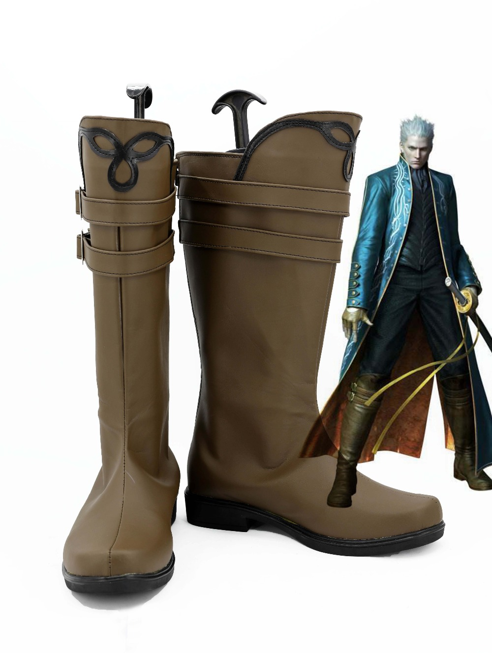 Devil May Cry Vergil cosplay Shoe Anime boots Custom-made