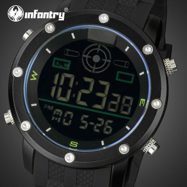 INFANTRY Mens Watches LED Digital Relogio Masculino 30M Waterproof Rubber Strap Auto Date Sports Watches Back Light Wristwatches