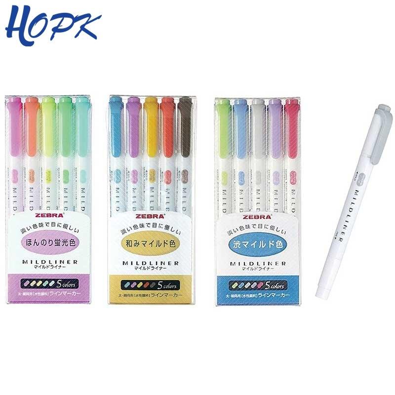HOPK 5 Farbe Set (WKT7-5C) zebra MILDLINER Highlighter Stift Doppel Headed Zeichnung Marker Stifte apanese Zebra Mild Liner Schreibwaren