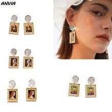 Mona Lisa Luxury Drop Earrings Women Fashion Vermeer Painting Accessories Vintage Art Photo Frame Glass Dangle Earrings Wedding vermeer in detail