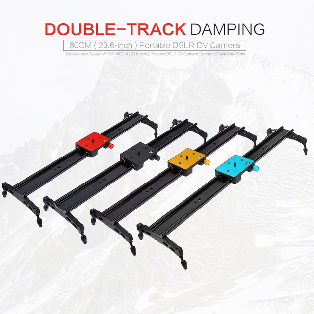 Double-track Design WH60R 60CM ( 23.6-Inch ) Portable DSLR DV Camera Damping Track Dolly Slider Video Stabilizer System