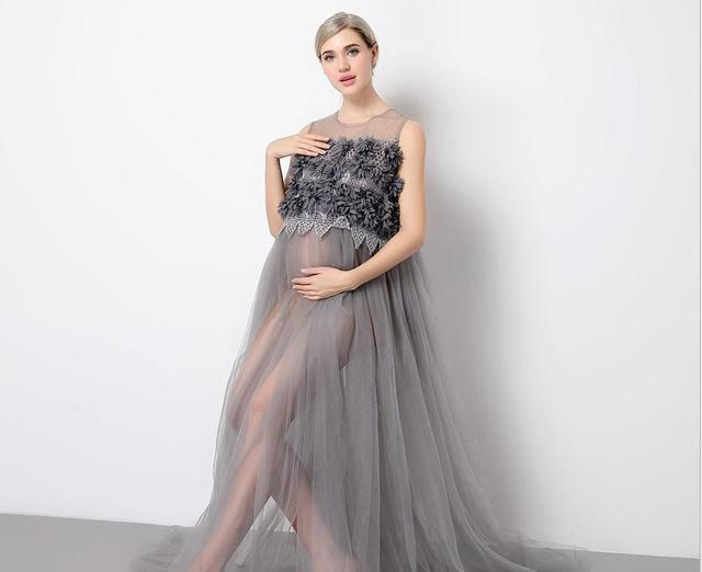 Floor Length Pregnancy Dress for Shoot Lace Maternity Photography Props Maxi Maternity Dress for baby showers