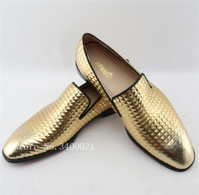 2018 Hot Fashion Gold Plaid Leather Casual Dress Shoes Slip On Smoking Men Loafers Moccasins Fashion Male Wedding Shoes Flats 2016 new fashion men leopard cotton fabric shoes british mens flats smoking slippers men loafers casual shoes plus size 4 17