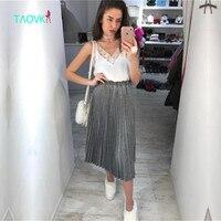 Rosyjski znani TaoVK moda 2017 kobiet Wiosna i Jesień spódnice plisowane spódnice elastyczny pas miga Złoty srebrny brokat