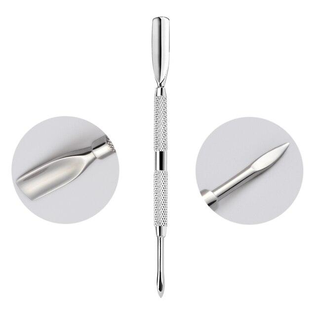 1 pièces lime à ongles cuticule cuillère dissolvant manucure tondeuse cuticule poussoir acier inoxydable outils à ongles NT94