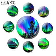 Northern Lights 30 MM Fridge Magnet Galaxy Universe Space Gift Glass Dome Magnetic Refrigerator Stickers Note Holder Home Decor