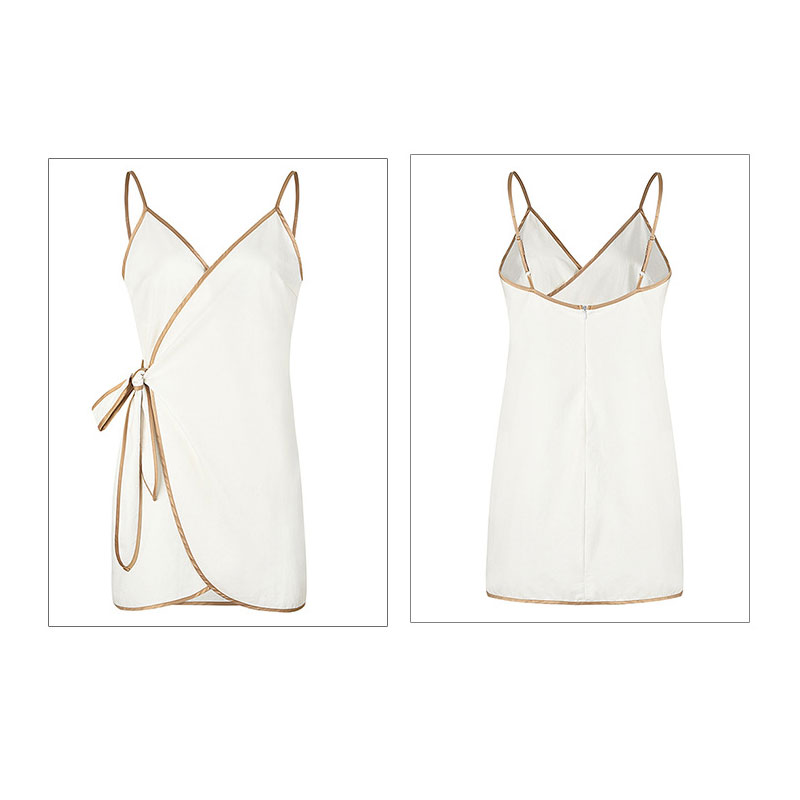JSMY 2019 New Summer Fashion Women V Neck Sling Cross Strap Solid Color White Dress in Dresses from Women 39 s Clothing
