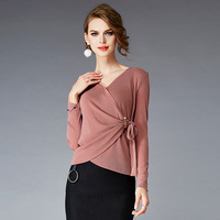 Autumn Winter Women Blouses V-Neck Adjustable Waist Solid Color Long Sleeve England Style Womens Clothing Shirt And Blouses