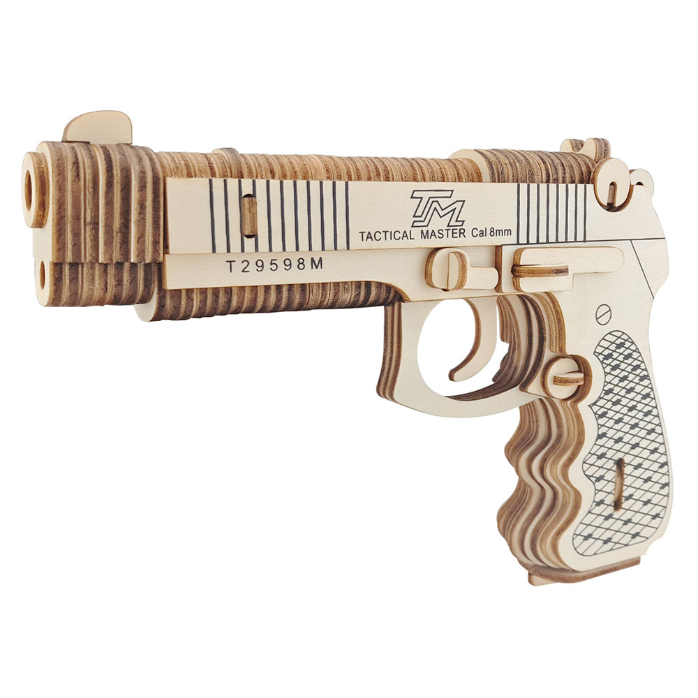 1:1 Wooden Assembled Toy Gun 3D Puzzle DIY Handmade Toy Institution Building Toys