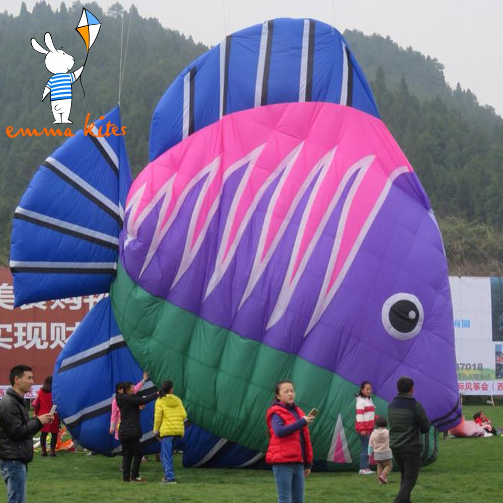 10m Large Soft Kite 4 Colors Fish Shape Inflatable Kite Ripstop Nylon Material For Show Activity 3m inflatable fish kite 4 colors beach kite flying for show outdoor activity