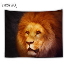 gold hair lion tapestry living room decor tenture murale indienne polyester fabric wall hanging dorm room(China)