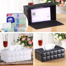 Room Kitchen Car PU Leather Tissue Box Holder Napkin Paper Cover Rectangle Case G6KC biety am 13 multifunctional alligator pu leather car sunvisor sunshade tissue box case cd holder