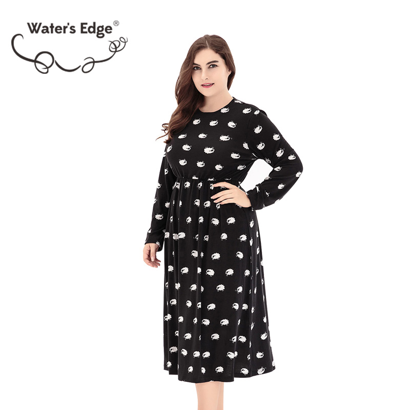 6e2f4b7d91a ... Water s Edge Big Size Women Dress 6xl Large Floral Print Autumn Knit  Clothing Fashion Party Office ...