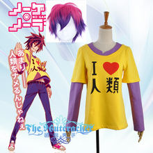 No Game Life Shiro  Cosplay Costume Yelloween Printed T Shirt with Wig Asian Size (S-XXL ) Regular